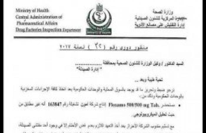 بالمستندات    وزارة الصحة تحذر المواطنين من إستخدام إحدي المضادات الحيوية الشهيرة
