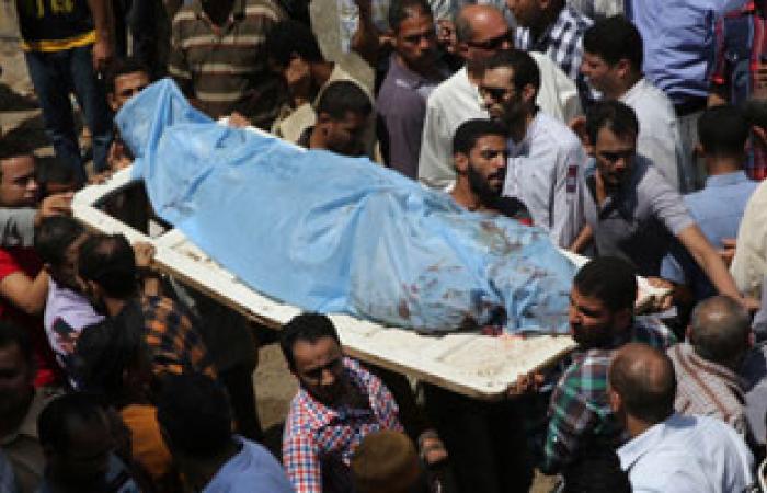 """دفن جثمان أحد ضحايا الإخوان فى أحداث """"رابعة"""" بكفر الشيخ"""