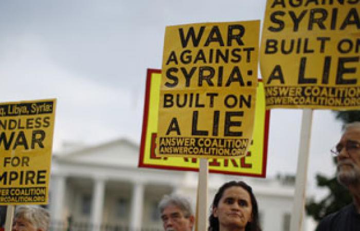 المئات يتظاهرون فى نيويورك ضد توجيه ضربة عسكرية لسوريا