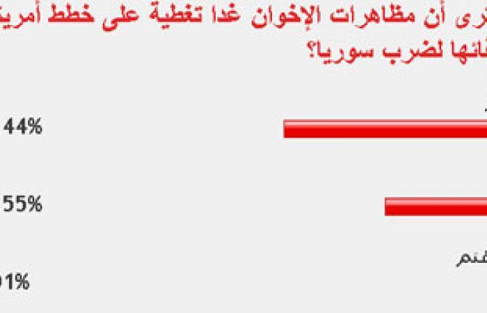 """62.44% من قراء """"اليوم السابع"""": مظاهرات الإخوان تغطية على ضرب سوريا"""