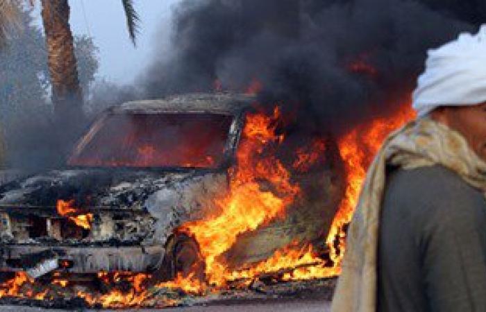 بالصور.. لص يشعل النار فى سيارة دفع رباعى بالخطأ أثناء محاولته سرقتها بالعياط