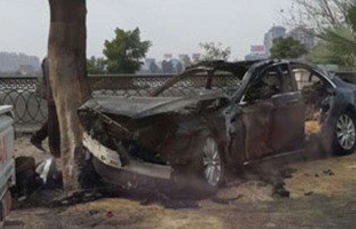 ننشر الصور الأولى لسيارة رجل الأعمال محمد الرواس بعد وفاته فى حادث الكورنيش