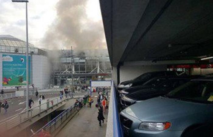 بالفيديو: لحظة انفجارى مطار بروكسيل وهروب المسافرين