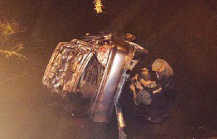 إصابة 7 أشخاص فى حادث انقلاب سيارتين بترعة الحاجر بالبحيرة