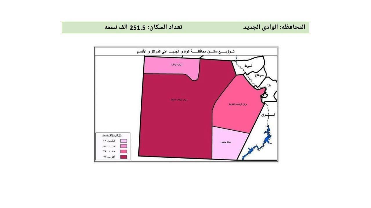محافظة الوادي الجديد - تقسيم وزارة الصحة