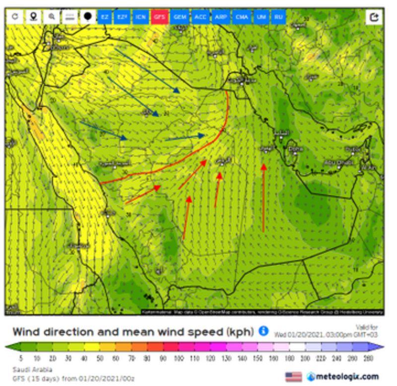 المسند يكشف خريطة الأجواء المضطربة.. والرياض في واجهة