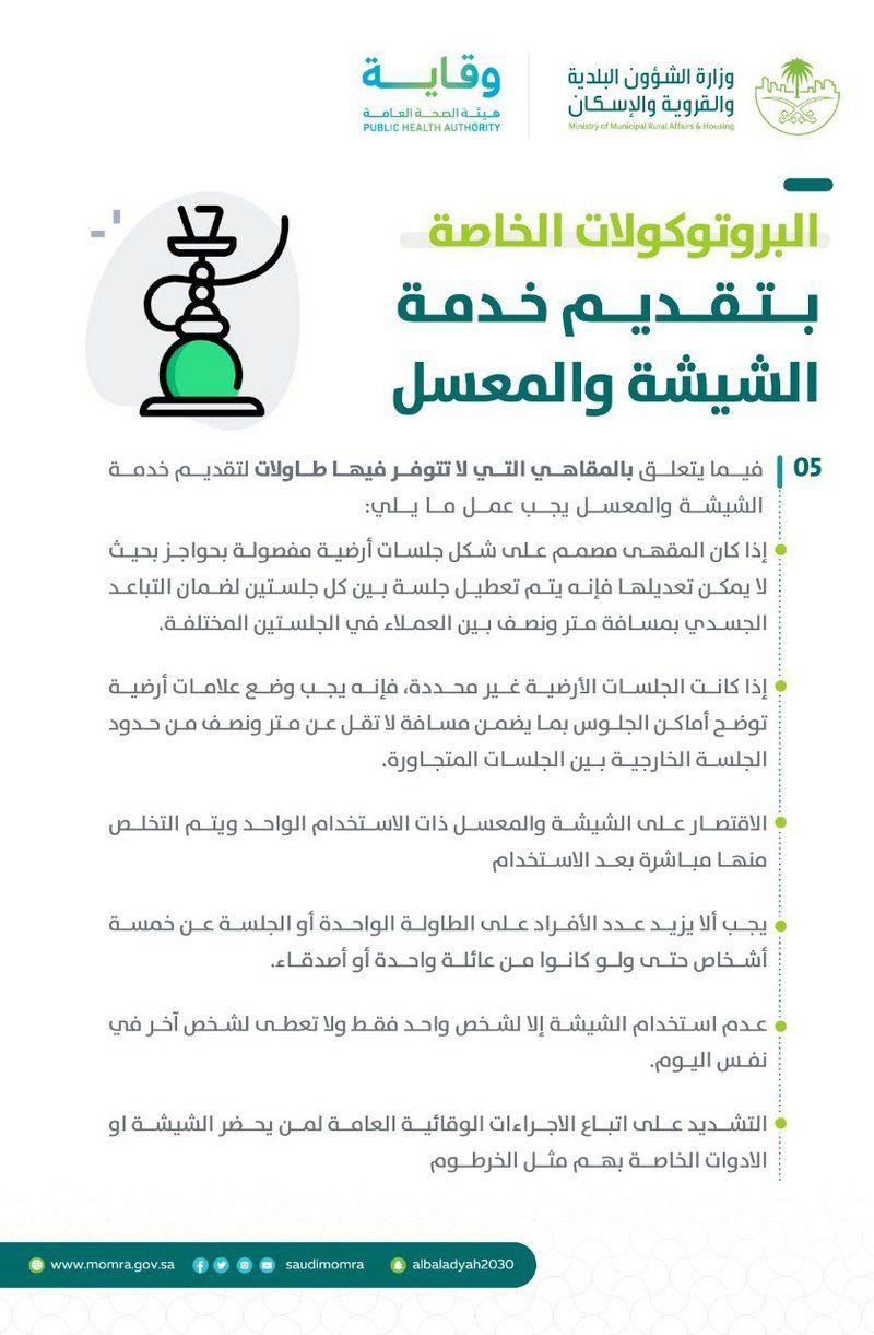 ابتداء من الاثنين..السماح بعودة الشيشة والمعسلات واقتصار الدخول على المحصنين