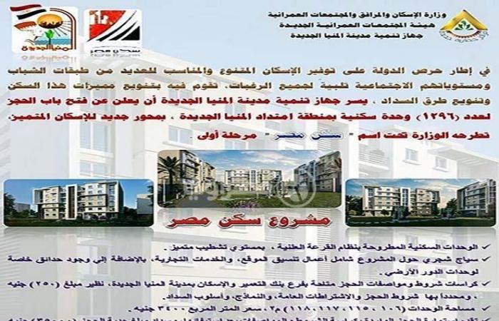 """ننشر تفاصيل مشروع """"سكن مصر"""" بالمنيا وأسعار الوحدات"""