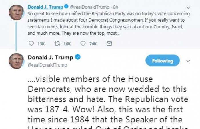 مجلس النواب الأمريكي يدين تصريحات ترامب ضد 4 نائبات