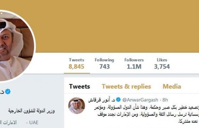 """أنور قرقاش يعلق على تعامل السعودية مع حادث """"أرامكو"""""""