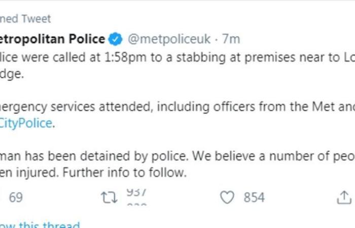 محدث..الشرطة البريطانية تعلن مقتل المشتبه به بحادث طعن في لندن