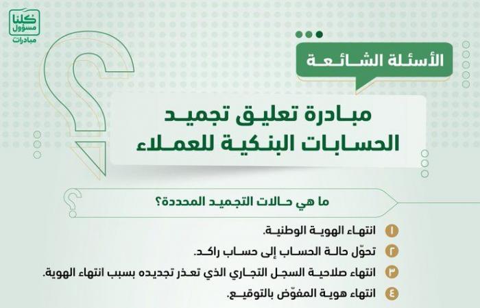 """""""النقد"""" السعودية توضح 3 شروط للاستفادة من مبادرة لإعادة الحسابات البنكية المعلقة"""