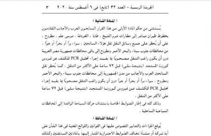 عدا القادمين لـ 3 محافظات.. حظر دخول الأجانب لمصر وتنقلهم بدون تحليل «كورونا» - مستند