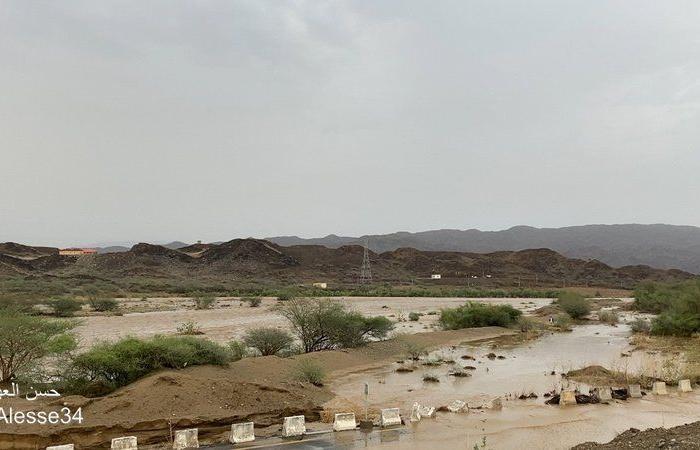 سقوط مركبة بمزلقان وادي قنونا بني عيسى بالقنفذة