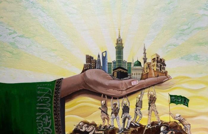 """جامعة الملك خالد تدشن معرض """"الوطن بريشة الفن"""".. احتفالاً باليوم الوطني 90"""