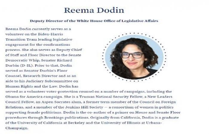 ريما دودين.. أول أمريكية من أصل أردني يعينها بايدن بمنصب رفيع بالبيت الأبيض