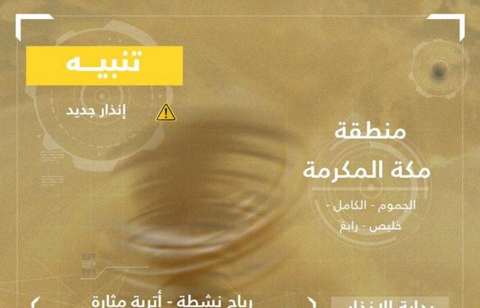 """""""الأرصاد"""": أتربة مثارة ورياح نشطة على مناطق مكة والمدينة والشرقية"""
