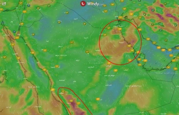 """سُحب تتشكّل وأمطار قد تهطل هنا.. """"المسند"""": استقرار جوي والرياح متقلبة"""