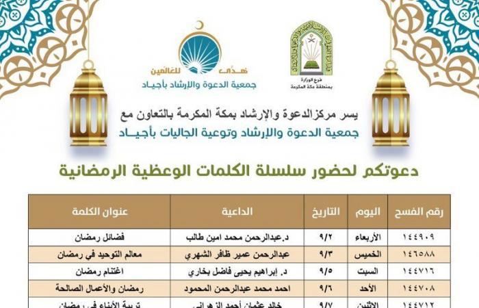 """""""أجياد"""" تطلق أكثر من 100 منشط دعوي في منطقة الحرم المكي خلال رمضان"""