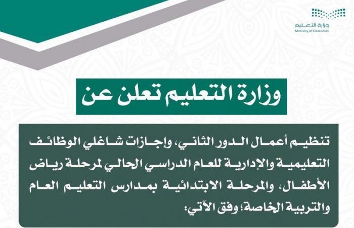 """""""التعليم"""" تعلن تعديل موعد إجازة الهيئتين """"التعليمية والإدارية"""" فيمرحلتي رياض الأطفال والابتدائيةإلى 17 رمضان"""