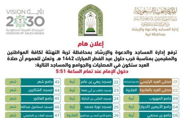 """بالأسماء..64 موقعًا لإقامةصلاة العيد في """"تربة"""" ومراكزها"""