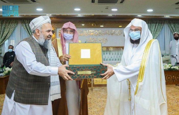 """""""السديس"""" يلتقي بوزيرَي الشؤون الدينية الباكستاني والأوقاف الأفغاني"""