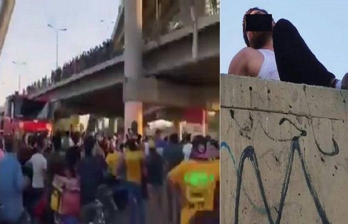 فيديو مرعب.. ماذا يفعل هذا الشاب فوق جسر بالعراق؟