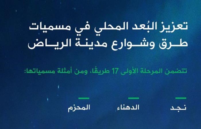أمانة الرياض تطلق مبادرة تعزيز البُعد المحلي في مسميات طرق وشوارع العاصمة