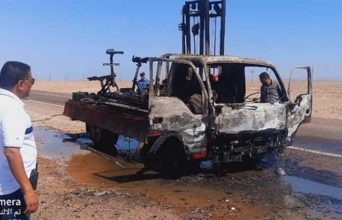 حريق بسيارة نقل يلتهم أجهزة ومعدات رياضية بالبحر الأحمر