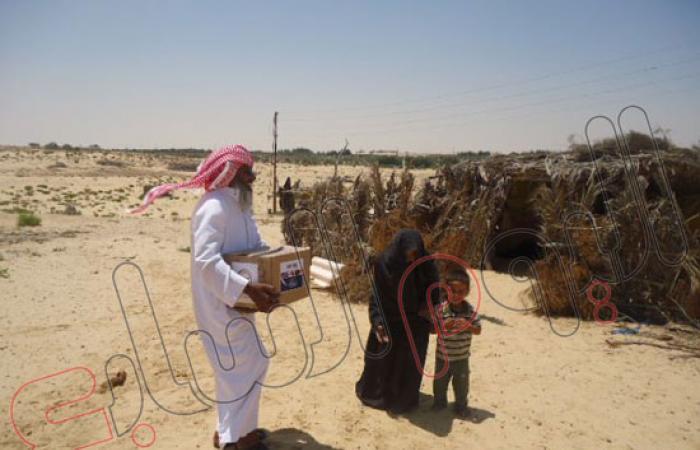 """جمعية """"رسالة نور على نور"""" توزع 850 كرتونة رمضان على أسر فقيرة بسيناء"""