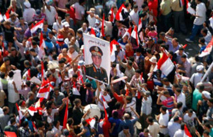 """""""السباعية"""" و""""البصيلية"""" بإدفو تشارك بمسيرات فى مليونية تفويض الجيش"""