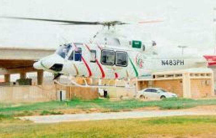 هبـوط الإسعاف الجوي على بـرج مستشفى الملك فهد