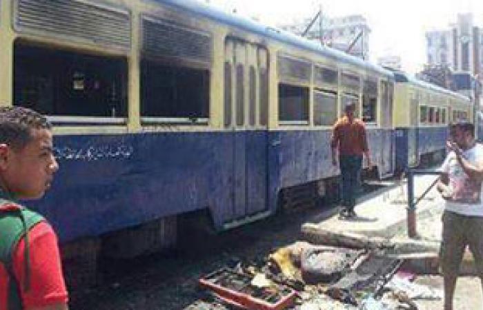 الإخوان يشعلون النيران فى عربات الترام بالإسكندرية