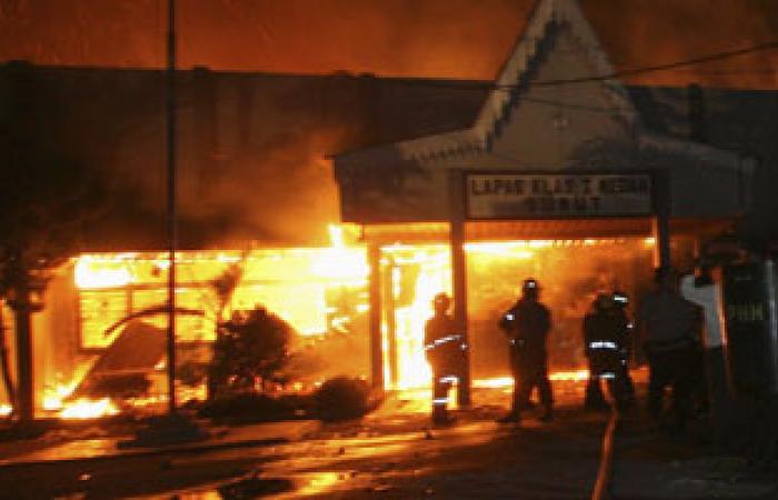 حريق هائل بمحلات التابعى للحلويات التابعة للإخوان بالمنوفية