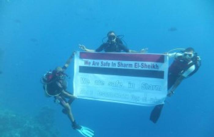 """بالصور.. حملة """"شرم آمنة"""" تصل أعماق البحر الأحمر.. وغواصين يحملون أعلام مصر تحت الماء"""