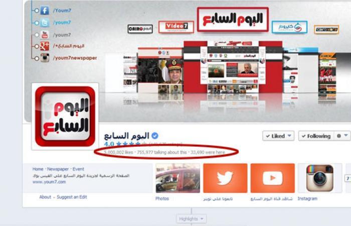 """""""اليوم السابع"""" يتخطى حاجز 5 ملايين متابع على """"فيس بوك"""""""