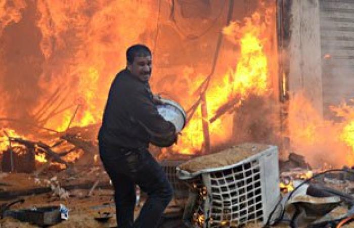 """السيطرة على حريق هائل بمخازن للخردة بمنطقة """"العنبر"""" بالغردقة"""