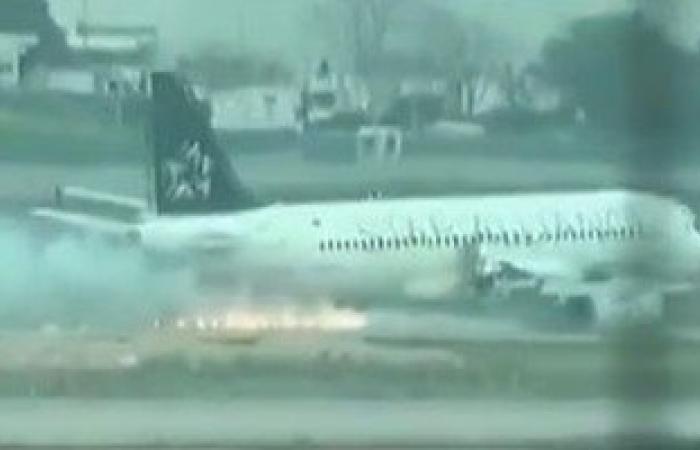ننشر فيديو اشتعال النار فى محرك طائرة ركاب تركية قبل هبوطها فى اسطنبول