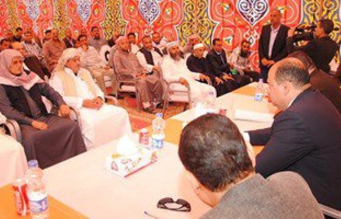 محافظ مطروح يعقد مؤتمرا شعبيا مع عمد ومشايخ وعواقل وشباب مدينة الحمام