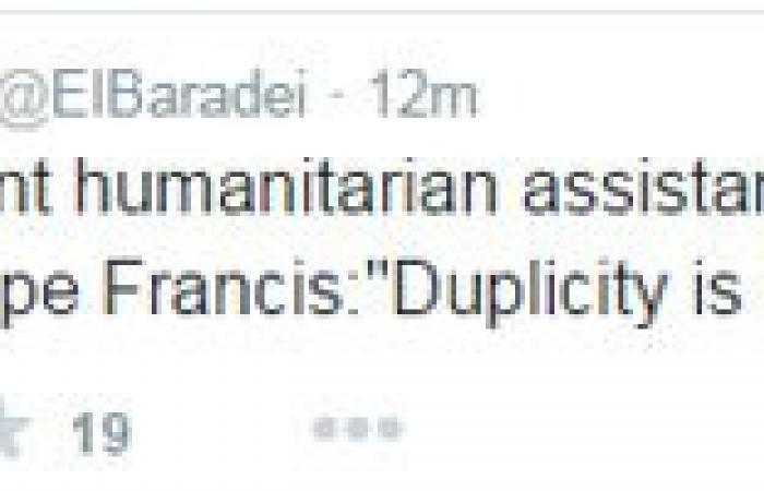 محمد البرادعى مستشهداً بكلمات بابا الفاتيكان: النفاق هو عملة اليوم