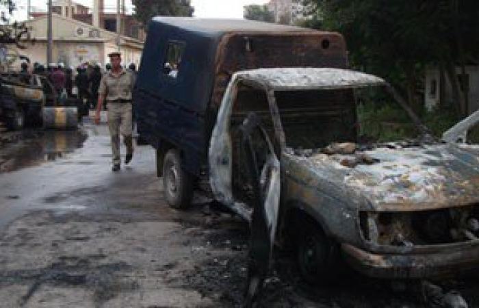 """عناصر """"الإرهابية"""" يضرمون النيران فى سيارة شرطة أثناء مسيرة لهم بالمنوفية"""