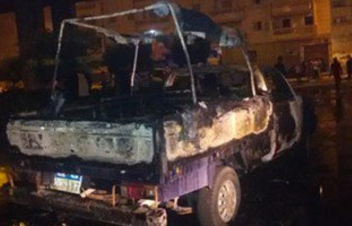 """""""الإخوان"""" يشعلون النيران فى سيارة شرطة بالعاشر من رمضان"""