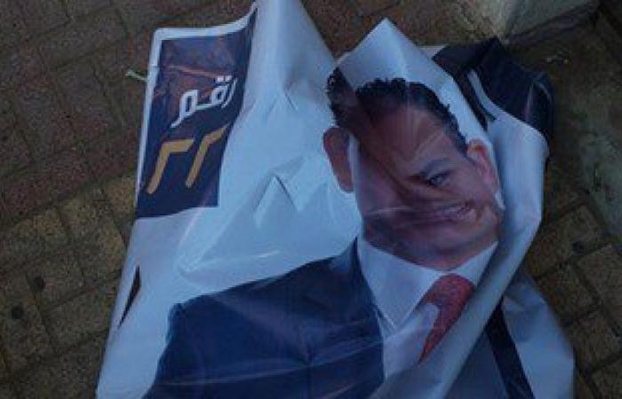 إصابة عمال محطة وقود بسبب تمزيق لافتة مرشح فى الزقازيق