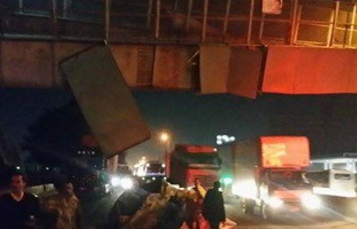 صحافة المواطن: بالصور..انهيار أجزاء من كوبرى مشاه بقليوب دون إصابات