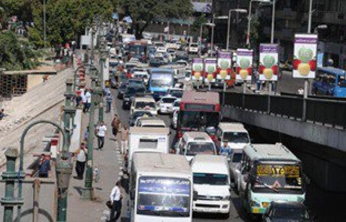 توقف حركة المرور بسبب حادث تصادم 4 سيارات أعلى كوبرى مسطرد