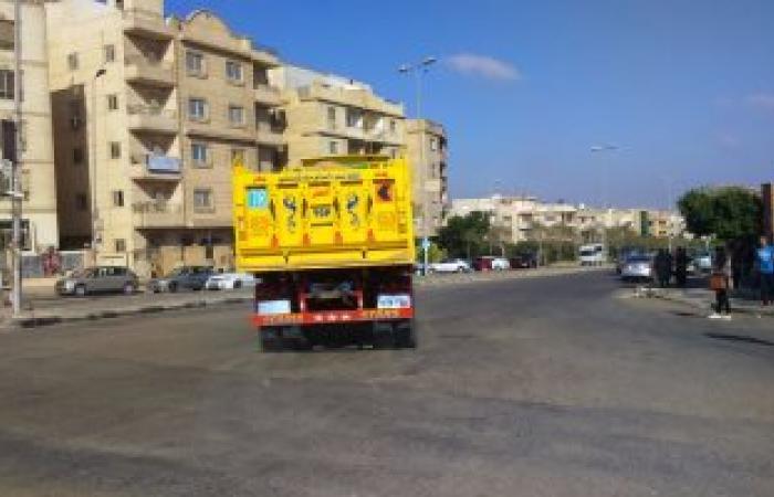 مصادرة 8 لوارى محملة بمواد بناء خلال حملة إزالة تعديات بالعاشر من رمضان
