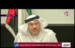 الأخبار - جزء من مؤتمر وزير الدولة الإماراتي للشؤون الخارجية بشأن قطر والتسريبات القطرية