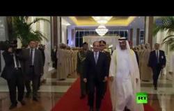 شاهد.. ولي العهد أبوظبي محمد بن زايد ال نهيان يستقبل الرئيس المصري عبدالفتاح السيسي