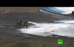 فيديو لإنقاذ ركاب إحدى الطائرات بعد هبوط اضطراري