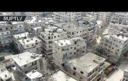"""طائرة """"درون"""" ترصد من الجو الدمار في مدينة أريحا السورية"""